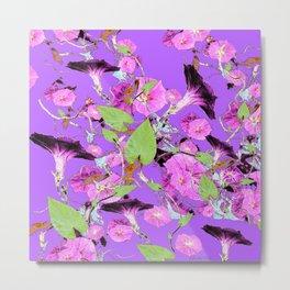 Lilac Purple Dark Morning Glory Vines art Metal Print