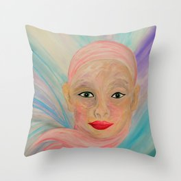 Bald is Beauty with Green Eyes Throw Pillow