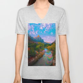 Flowing With The River Unisex V-Neck