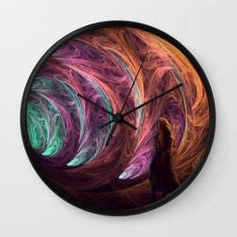 Towards The Light - Alice in Wonderland - White Rabbit - Fractal Wall Clock