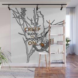 "Halloween sloth ""creep slow and spook on."" Tree Wall Mural"