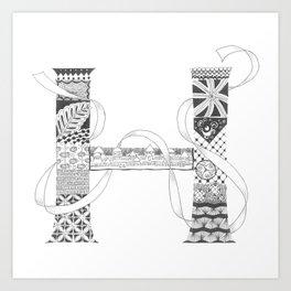 """Zenletter """"H"""" Art Print"""