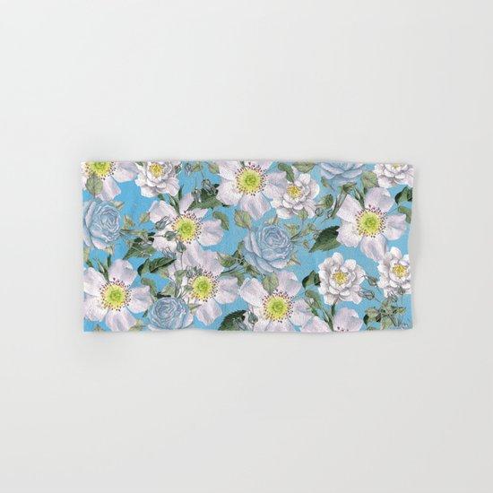 Vintage Rose Pattern Blue Hand & Bath Towel