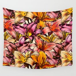 Daylily Drama - a floral illustration pattern Wall Tapestry
