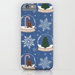 Christmas Snow Globe Pattern: Blue iPhone Case