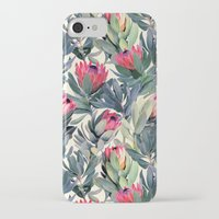 yellow pattern iPhone & iPod Cases featuring Painted Protea Pattern by micklyn