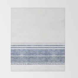FRENCH LINEN CHAMBRAY TASSEL Throw Blanket