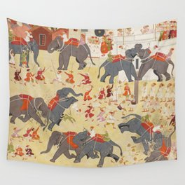 Maharana Raj Singh Observing an Elephant Fight - 17th Century Classical Indian Art Wall Tapestry