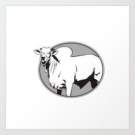 Bull zebu vintage logo Art Print