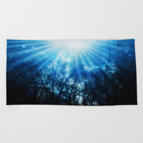 There Is Hope In the Light : Black Trees Blue Space Beach Towel
