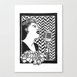 Lady Day (Billie Holiday block print blk) Canvas Print