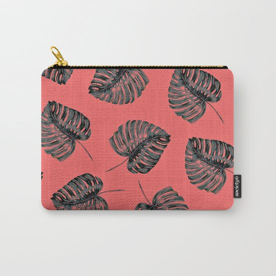 tropical leaves in the red jungle Carry-All Pouch