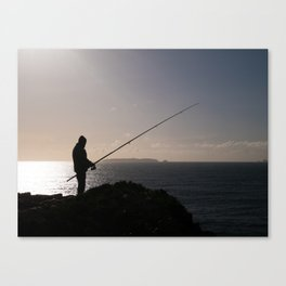 Fishing by the Sea Canvas Print