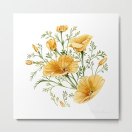 California Poppies - Watercolor Painting Metal Print