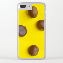 Chestnut pattern on yellow background, ripe chestnuts Clear iPhone Case