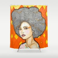 ginger Shower Curtains featuring Ginger by Bhavana S N