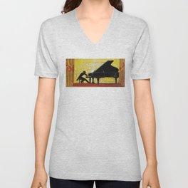 Vintage Piano Recital Illustration (1920) Unisex V-Neck