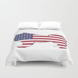 """Samoyed """"American Flag"""" Duvet Cover"""