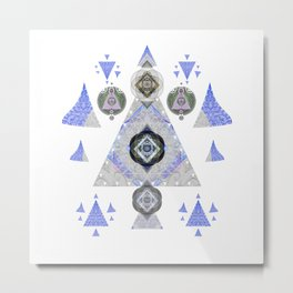 Contemporary Sacred Geometry Lavender Silver Metal Print