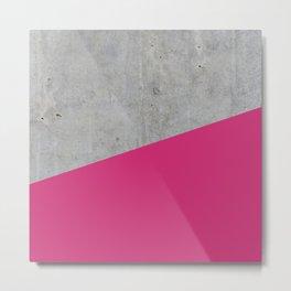Concrete and pink yarrow color Metal Print