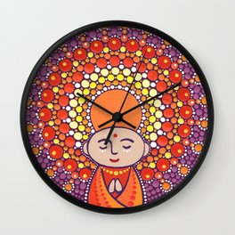 Jizo Meditating upon a Ruby Lotus Wall Clock
