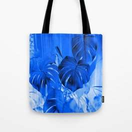 A Philodendron in blue Tote Bag