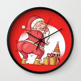 SANTA TWERK FUNNY CHRISTMAS DANCE CARTOON Wall Clock