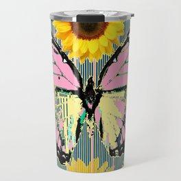 ABSTRACT PINK BUTTERFLY TEAL GARDEN SUNFLOWER Travel Mug