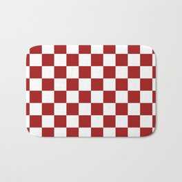 Cranberry Red and White Checkerboard Pattern Bath Mat