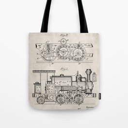Steam Train Patent - Steam Locomotive Art - Antique Tote Bag