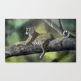 Painting of a Leopard on Branch  Canvas Print