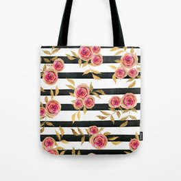 Girly Modern Pink Gold Flowers Black White Stripes Tote Bag