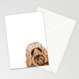 Labradoodle portrait peeking dog portrait cute art gifts for dog breed lovers Stationery Cards