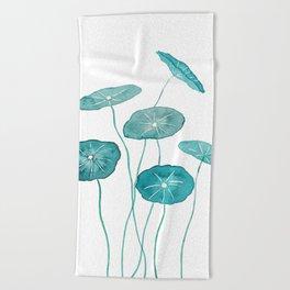 whorled umbrella plant leaf watercolor Beach Towel