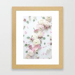 SPRING FLOWERS WHITE & PINK Framed Art Print