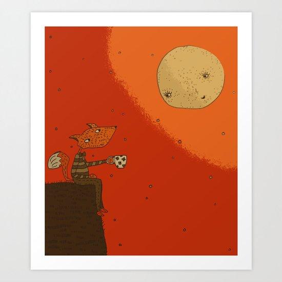 Tea with Moon Art Print