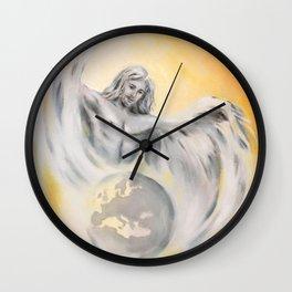 Guardian Angel World Peace - Handpainted Angel Art Wall Clock