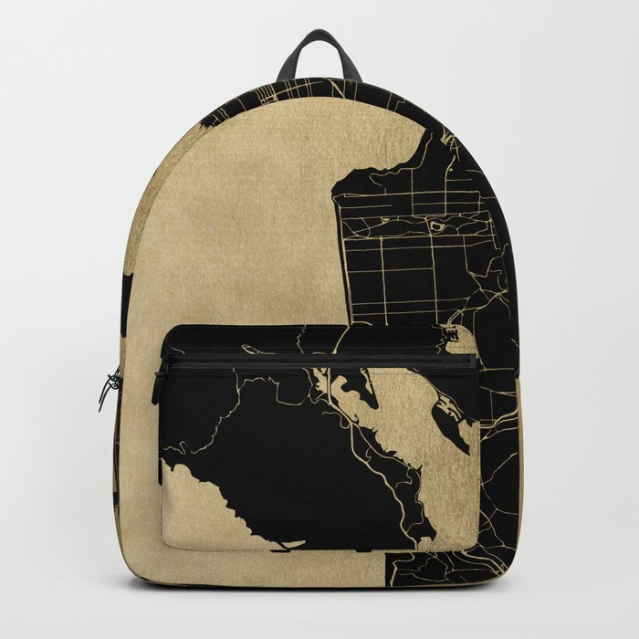 San Francisco California Black and Gold Map Backpack