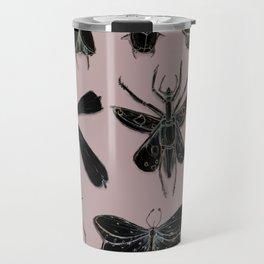 Entomology black and Antique Rose Travel Mug