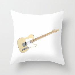 White Electric Guitar Throw Pillow