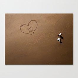 Romantic walk on the beach Canvas Print
