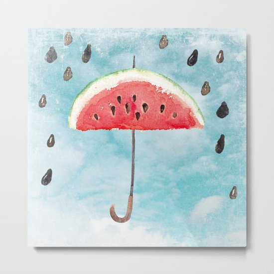 Melon- Fruity Summer Rain Metal Print