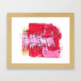 A clowder of cats Framed Art Print