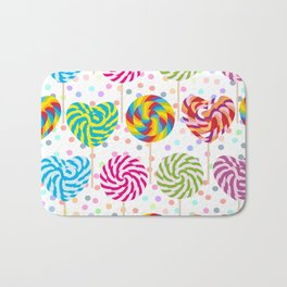lollipops pattern, colorful spiral candy cane with twisted design Bath Mat