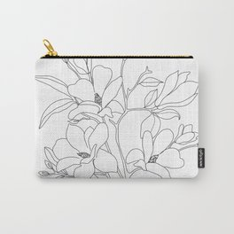 Minimal Line Art Magnolia Flowers Carry-All Pouch