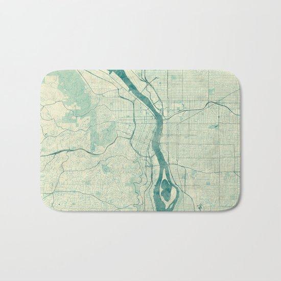 Portland Map Blue Vintage Bath Mat