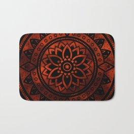 Burnt Orange & Black Patterned Flower Mandala Bath Mat