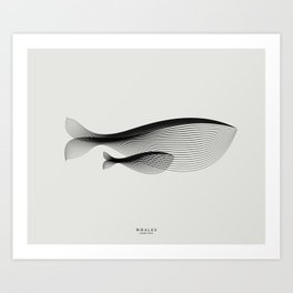 Animals in Moiré | Whales Art Print
