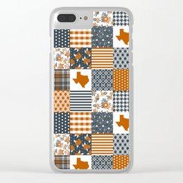 Texas longhorns university quilt pattern gifts sports fan varsity football fan Clear iPhone Case