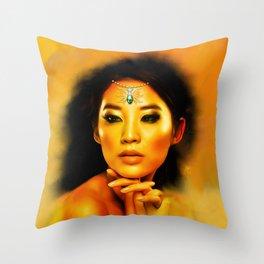 Green Eyed Beauty Throw Pillow